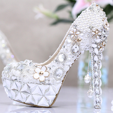 white Pearl with tassel rhinestone shoes women wedding shoes bride ultra high heels platform shoes formal dress party shoes