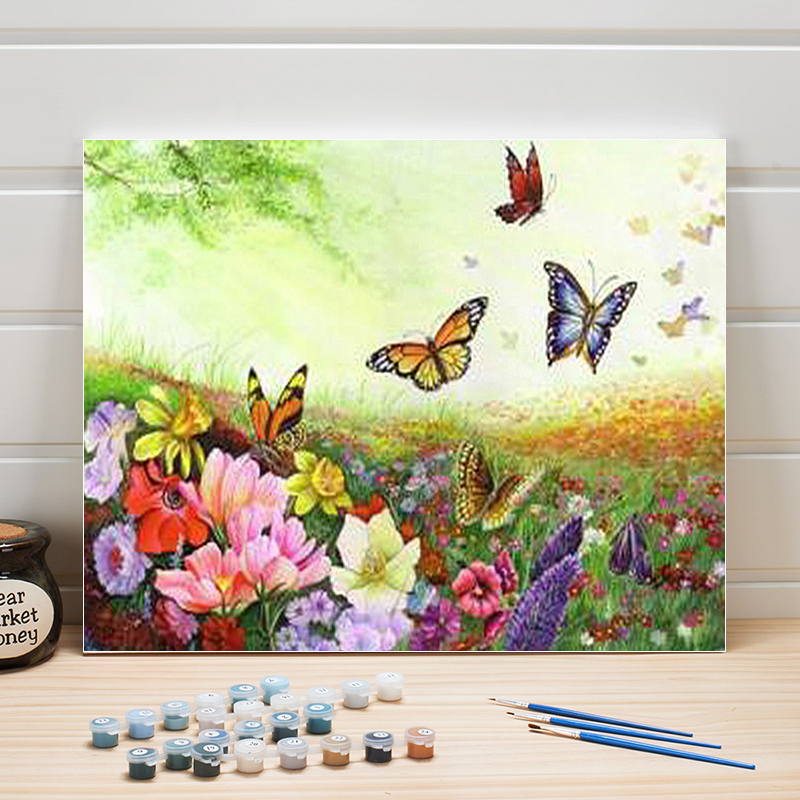 Paint Oil Painting By Numbers Flowers Animals Pastoral DIY Acrylic Coloring Art Canvas Wall Pictures For Living Room Adults Draw