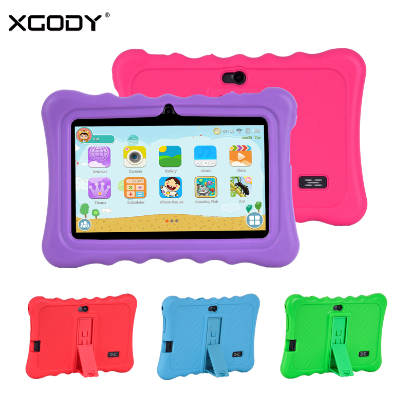 """XGODY 7"""" Tablet Android 8.1 For Children Portable 7 Inch Kids Tablet PC Quad Core 1GB 16GB HD Dual Camera WiFi With Stand Case"""