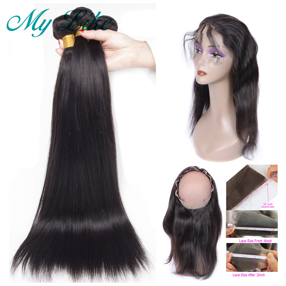 My Like Brazilian Hair Weave Bundles With Frontal 3Pcs Straight Human Hair Bundles With 360 Lace Frontal Closure Non-remy Hair
