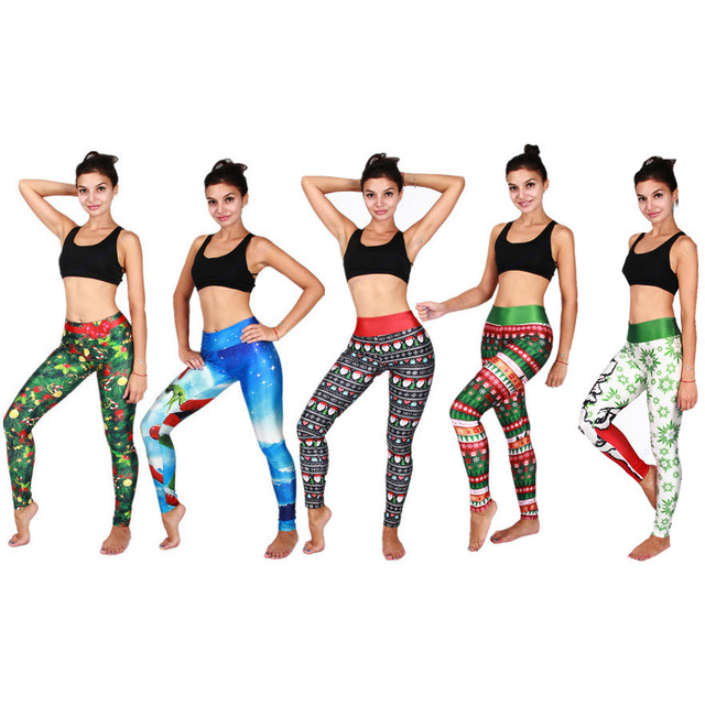 6fb2037e8a47a Christmas Yoga Pants Funny Santa Claus Sports Running Leggings Christmas  Tree Compression Fitness Skinny Tights Ladies Sexy Slim