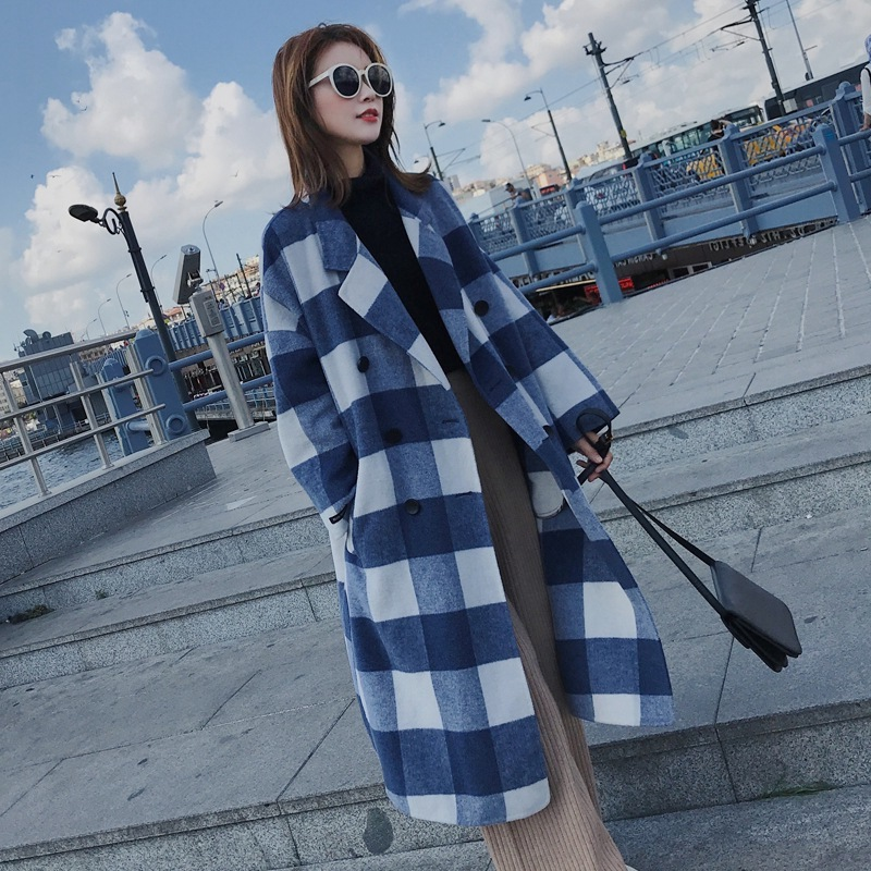 Korean Blue White Lattice Woolen Outerwear Loose Plaid Coat Woman Tailored Collar Checked Coat Winter Long Wool Overcoat overcoat