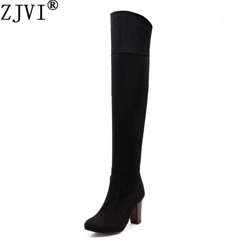 ZYZMNSYP streç akın nubuk Siyah mavi kadınlar uyluk yüksek aşırı diz boots kadın Kış moda yüksek topuklu çizme bayanlar ayakkabı