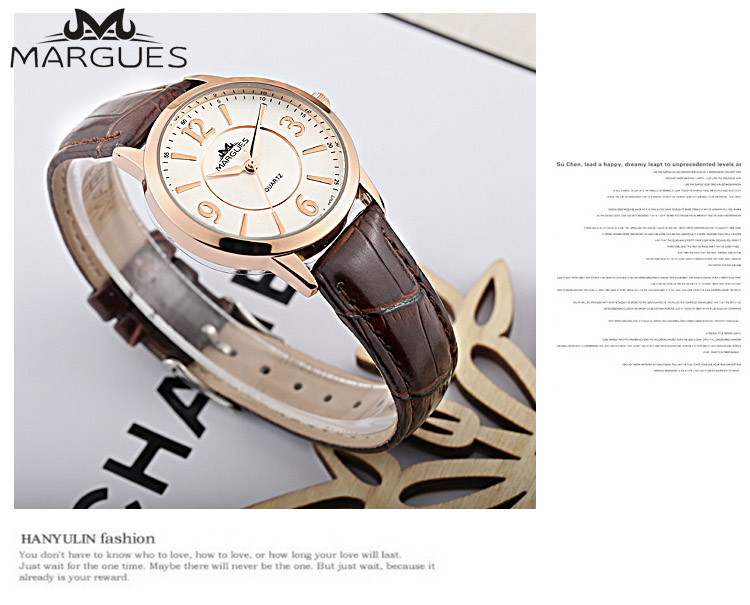 MARGUES Brand Quartz Watch For Lovers Simple Numerals Case Love Couples Fashion Watches Casual Leather Strap Clock 032