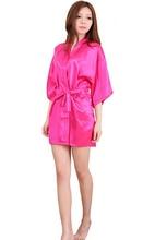 Women Silk Satin Short Night Robe