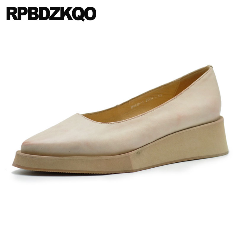 2018 Women Platform Shoes Creepers Ladies Folk Medium Heels Beige Genuine Leather Pointed Toe Wedge Japanese Low Handmade Pumps2018 Women Platform Shoes Creepers Ladies Folk Medium Heels Beige Genuine Leather Pointed Toe Wedge Japanese Low Handmade Pumps