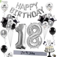 Frigg Silver Metal 18th Birthday Balloons Happy 18 Party Number Balloon For Adult Decoration 40Pcs
