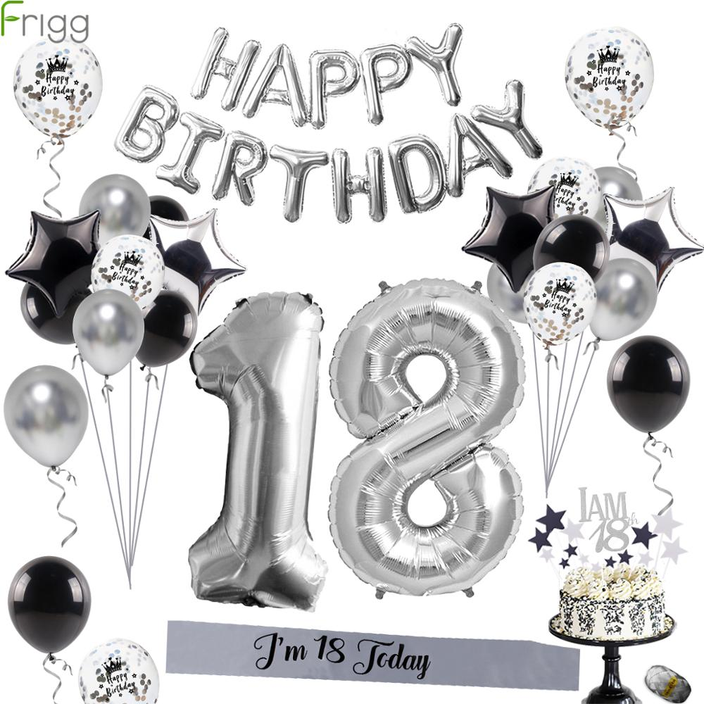 Frigg Silver Metal <font><b>18th</b></font> <font><b>Birthday</b></font> Balloons Happy 18 <font><b>Birthday</b></font> Party Number Balloon For Adult <font><b>Birthday</b></font> Party <font><b>Decoration</b></font> 40Pcs image