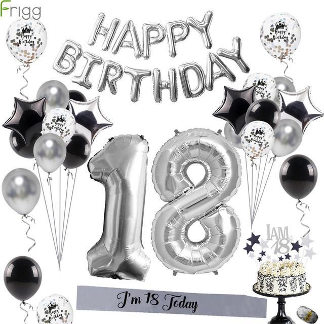 Sapatos de prata 18 balões para decoração, balões de metal para decoração de festas de aniversário adulto e festa de feliz aniversário 40 peças
