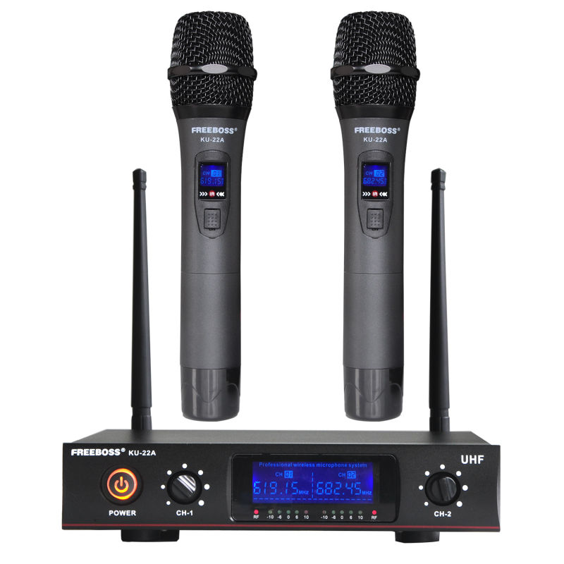 Freeboss KU 22A UHF 2 Way 2 Metal Handheld Wireless Microphone