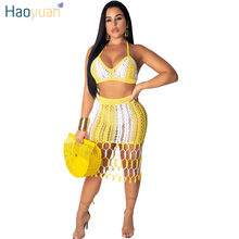 HAOYUAN Hand Knit Fishnet Hollow Sexy 2 Piece Outfits for Women Summer Crop Top and Crochet Skirt Suits Two Piece Matching Sets(China)
