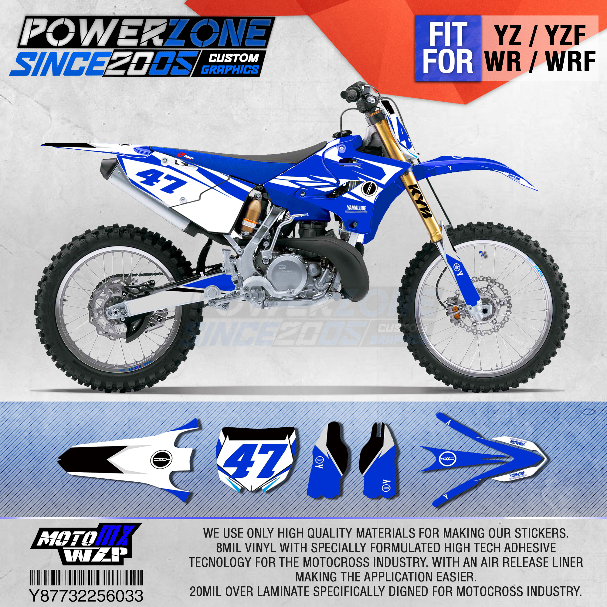 PowerZone Customized Team Graphics Backgrounds Decals 3M Custom Stickers For YAMAHA YZ125/250 X 1996-2001 2002-14 2015-2019 033