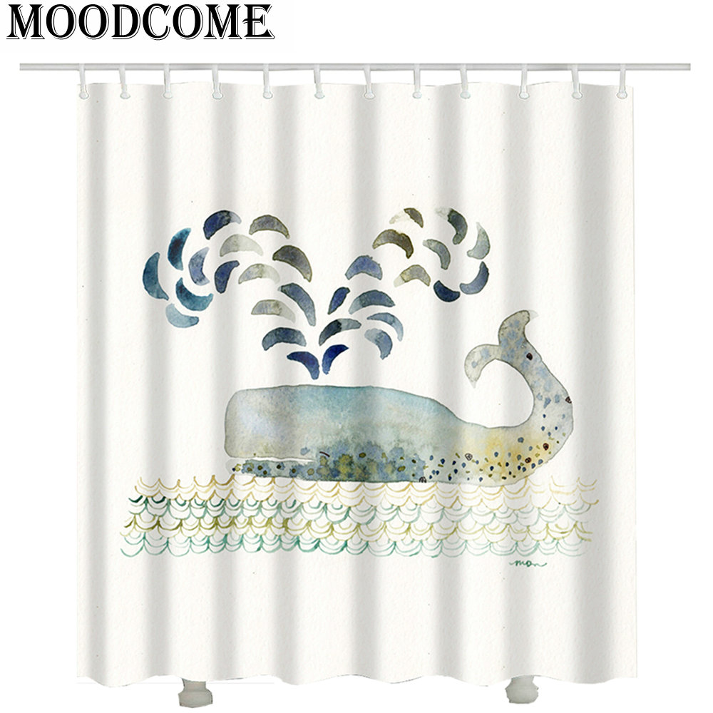dolphin shower curtain fabric polyester curtain for the bathroom cortina ducha bath curtain