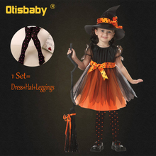 Otoño niños bruja Disfraces Niña polainas bruja sombrero ropa conjunto niño  Halloween disfraz niña Navidad vestido e4bc511d2ea