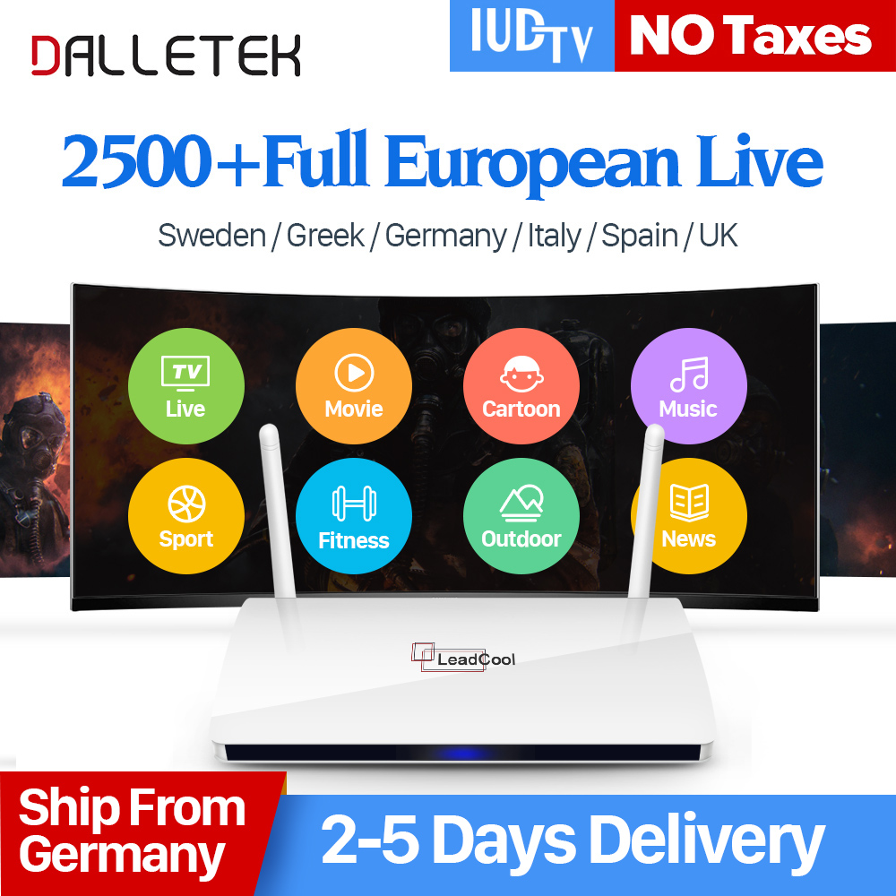 Leadcool IPTV Sweden Box Android IUDTV IPTV Subscription Sweden Germany Italian IPTV Box Europe 2500 Channels 1 year IP TV Code leadcool android tv box with iptv subscription 1 year iudtv 2000 iptv channels europe french arabic albania spain sweden iptv