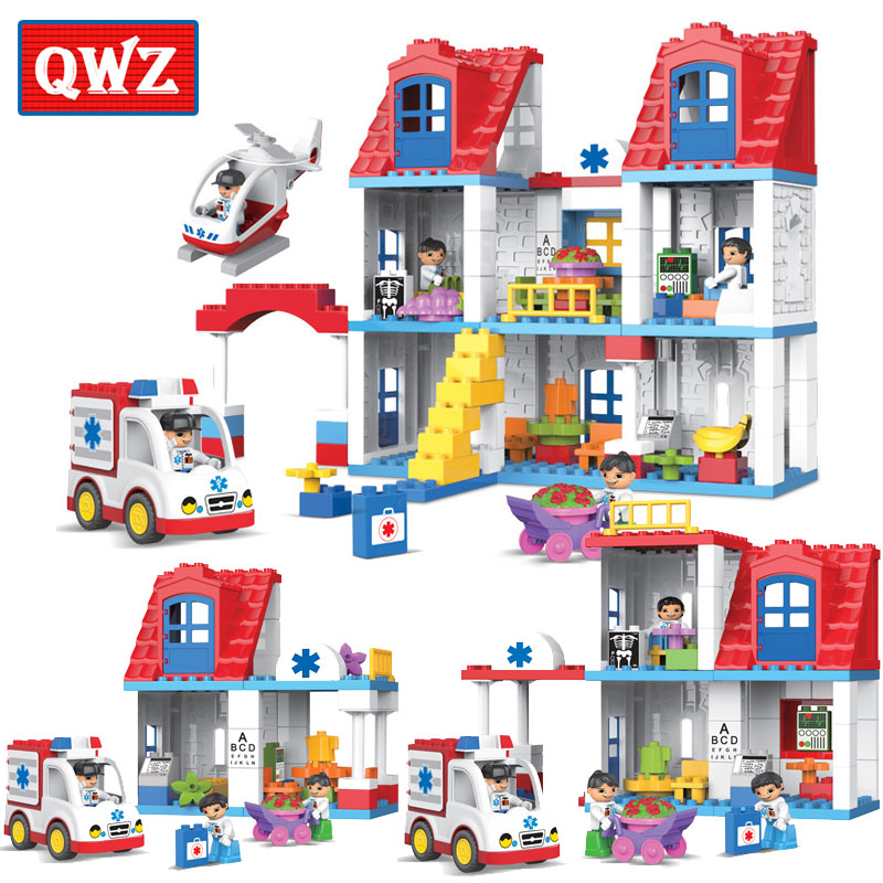 QWZ 50-120Pcs Large Particles City Hospital Emergency Helicopter Model Building Block Nurse Doctor DIY Bricks Compatible Duplo free shipping wall element 1x6x5 abs diy enlighten block bricks compatible with lego assembles particles