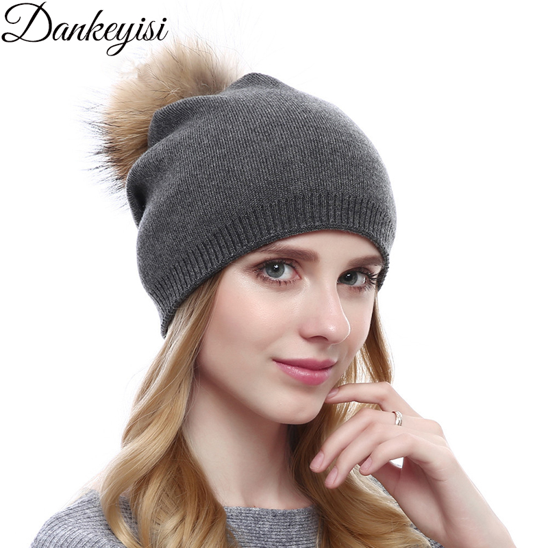 DANKEYISI Natural Raccoon Fur Pompon Hat Winter Thick Cashmere Knitted Women Cap   Beanie   Hats Wool Caps Female   Skullies     Beanies