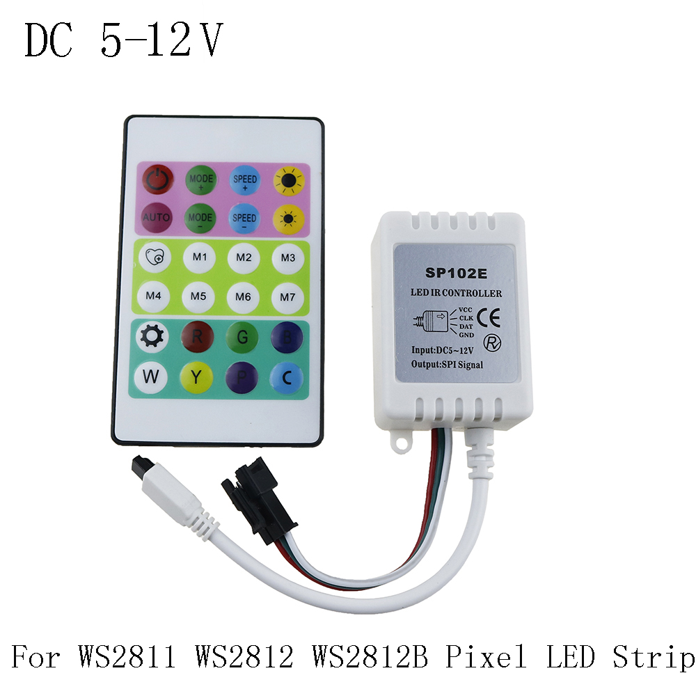 ir remote controller dc 5v 12v for ws2812 rgb led strip test ws2812b ws2811 ws2812 pixel led. Black Bedroom Furniture Sets. Home Design Ideas