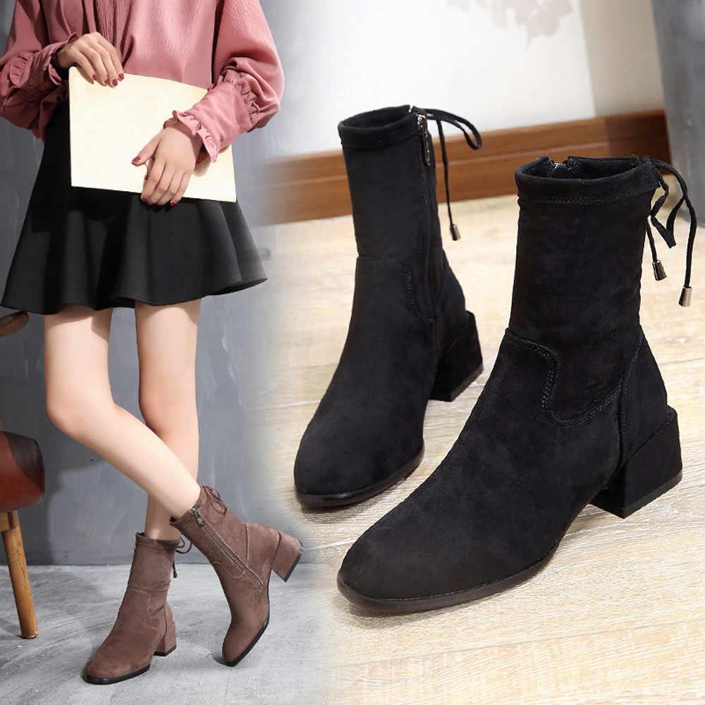 Caliente antideslizante botas de invierno las mujeres zapatos de tacón  cuadrado Martain Boot Suede Color sólido cd5004d95805