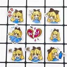 40 pcs Self-made bonito scrapbooking Criativo Bonito Little Alice Telefone Bagagem de fadas Dos Desenhos Animados etiquetas de Papel/adesivos À Prova D' Água