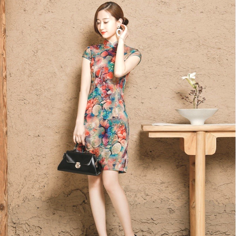Sheng Coco Women's Chinese Traditional Dresses Linen Cotton Qipao Cheongsam Flowers Short Elasticity Stretch Dress 3XL 4XL 5XL
