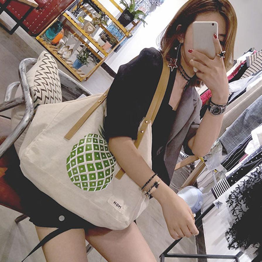 Женская Мода Последние Ананас печатных холст сумка Для женщин Однотонная одежда экспозиции большой Ёмкость сумка # F