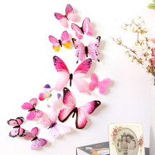 2018 New Qualified Wall Stickers 12pcs Decal Wall Stickers Home Decorations 3D Butterfly Rainbow PVC Wallpaper for Living Room