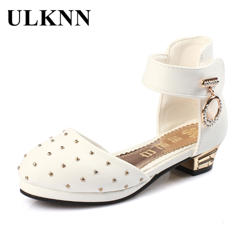ULKNN Summer Kids Sandals For Girls Party Shoes Princess Rivets High Heel Children Shoes Rubber Outsole Closed Toe Girls Shoe ulknn glitter children girls high heel shoes for kids princess sandals bowtie knot infant baby girls shoes for party and wedding
