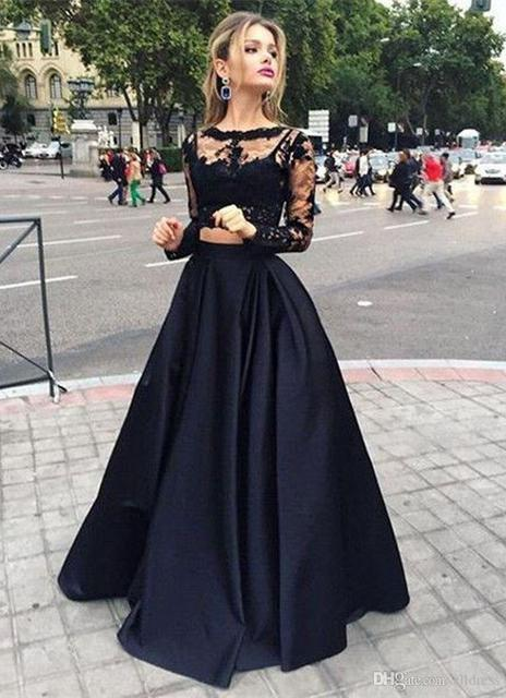 6056103c2 Elegante Negro de Dos Piezas de Vestidos de Baile 2016 O Cuello de Manga  Larga de Encaje Negro Blusa Entallada Vestido de Fiesta Formal en Vestidos  de ...