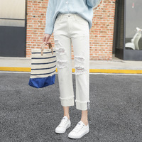 Ladies White Ripped Jeans Pants 2018 Fashion New Distressed Broken Hole Loose Casual Cuffs Cropped Denim