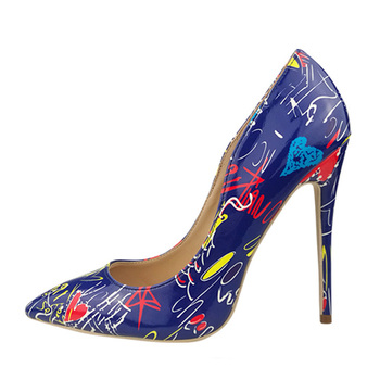 2019 New Fashion Women Shoes Graffiti Colorful Women Pumps Party Wedding Shoes Ladies Sexy Pointed Toe High Heels Big Size 35-42