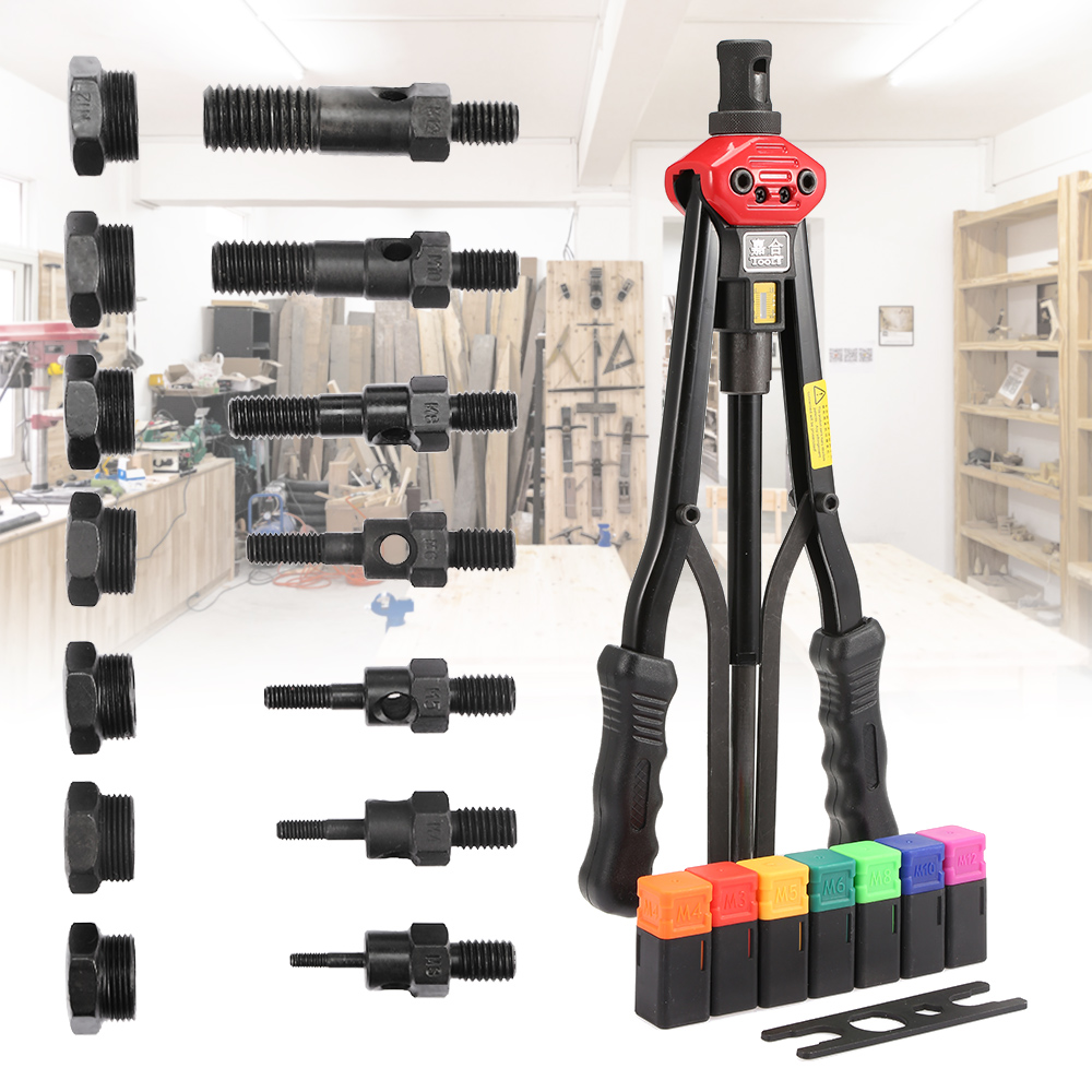 Rivet Nut Gun Tool Double Handle With Changeable Parts Box With M3 M4 M5 M6 M8 M10 M12 With Wrench Manual Tool Nut Box