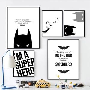 Super Hero Batman Poster Wall Art Canvas Painting Modern Minimalist Boys Prints Kids Room Wall Decor