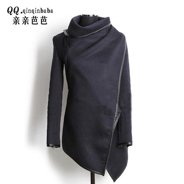 16 Outono e Inverno das Mulheres Casacos De Lã Não-uniforme de Cor PU Jaquetas de couro Longas Push Up Tamanho Mulheres Jaqueta Bomber Básico casacos