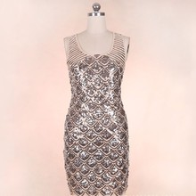 b147b3f297b Simple Sexy Sequin O-neck Summer Party Dresses Women Backless Zipper Club  Dress Christmas 2019