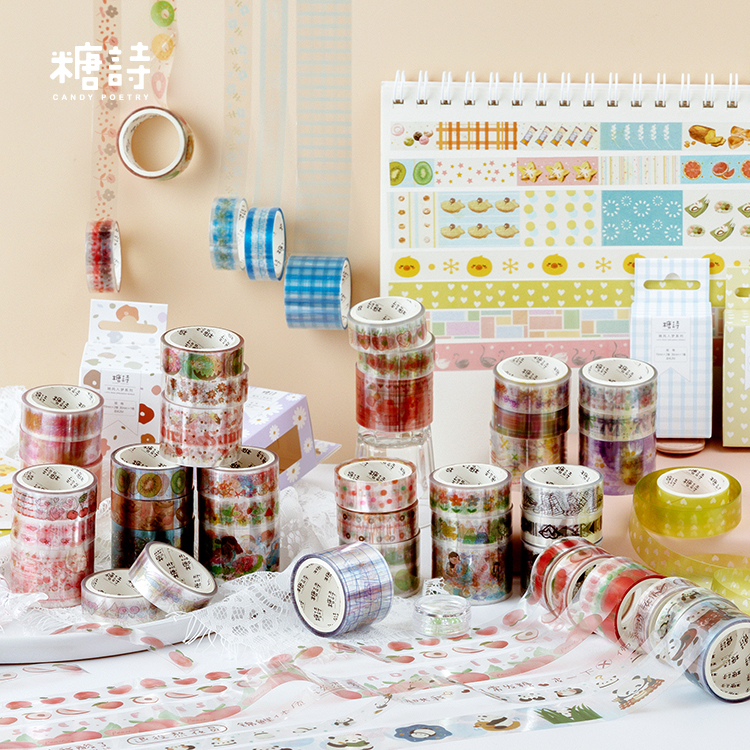 Girl 3Pcs \ DIY Cute Creative Fun Retro Personality PET Tape Album Diary Calendar Scrapbook Student Stationery Office Supplies