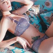 Hot Sexy Bra Set Plus Size 36 38 40 Ultrathin Underwear Women Set White Lace Bra Embroidery Transparent Lingerie Brand Brassiere