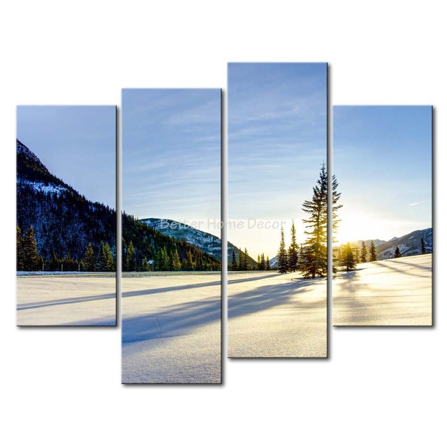 3 Piece Wall Art Painting Serene Snow Tree Snow Mountain Sunrise Picture Print On Canvas Landscape  sc 1 st  AliExpress.com & 3 Piece Wall Art Painting Serene Snow Tree Snow Mountain Sunrise ...