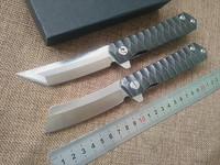 New Outdoor Tactical Folding Knife D2 Blade TC4 Titanium Handle Camping Hunting Survival Pocket Knives Ball