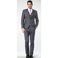 2017 Latest Coat Pant Designs Men Gray Suits For wedding One Button Slim Fit Three Pieces gray mens Suit Jacket terno