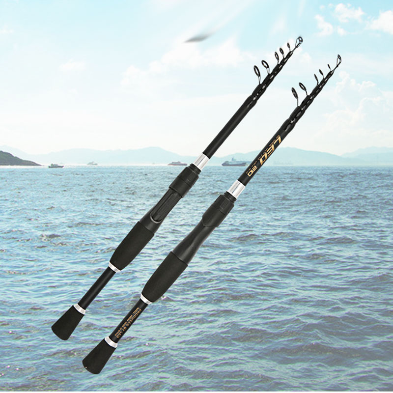 ultralight carbon spinning fishing rod short telescopic rod boat rock stick pesca pole for bass carp seafishing-in Fishing Rods from Sports & Entertainment