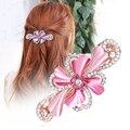 Элегантная девушка Horseshoers шпилька цветок высококачественный австрия горный хрусталь пружинный зажим женщины стучит зажим для волос аксессуары 5 цветов