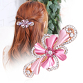 Elegant Girl Horseshoers Hairpin Flower High Grade Austria Rhinestone Spring Clip Female Bangs Hair Clip Accessory 5Colors