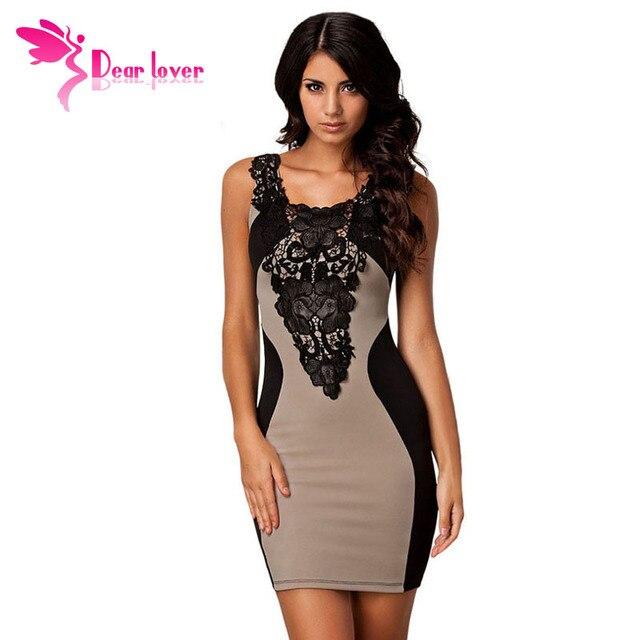 Dear Lover vestido de festa Khaki Sexy Lace Contrast Party Bodycon Office Mini Dress roupas femininas women work wear  LC21548