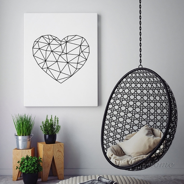 modern geometric heart wall art heart printable scandinavian