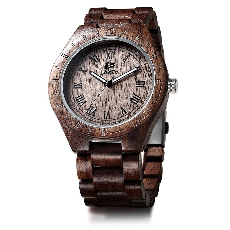 LeeEv EV1001 Top Luxury Brand Mens Natural Walnut Wood Analog Quartz Light Weight Vintage Wooden Wrist Watch Free Shipping Gift