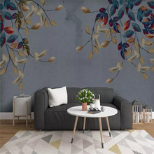 Custom wallpaper hand-painted abstract leaves elegant modern mural high-grade waterproof material