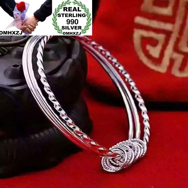 OMHXZJ Wholesale European Fashion Woman Girl Party Wedding Gift Multi Circles S990 Sterling Silver Cuff Bangle BA05