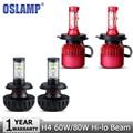 Oslamp Hi-Lo Beam H4 LED Car Headlight Bulb CREE Chips 60W/80W Auto Front Fog Light Led Headlamp DRL Driving Headlights 12v 24v