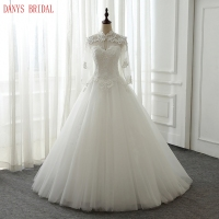 Long Sleeve Lace Wedding Dresses High Neck Pearls Wedding Gowns Weding Bridal Bride Dresses Weddingdress Vestido
